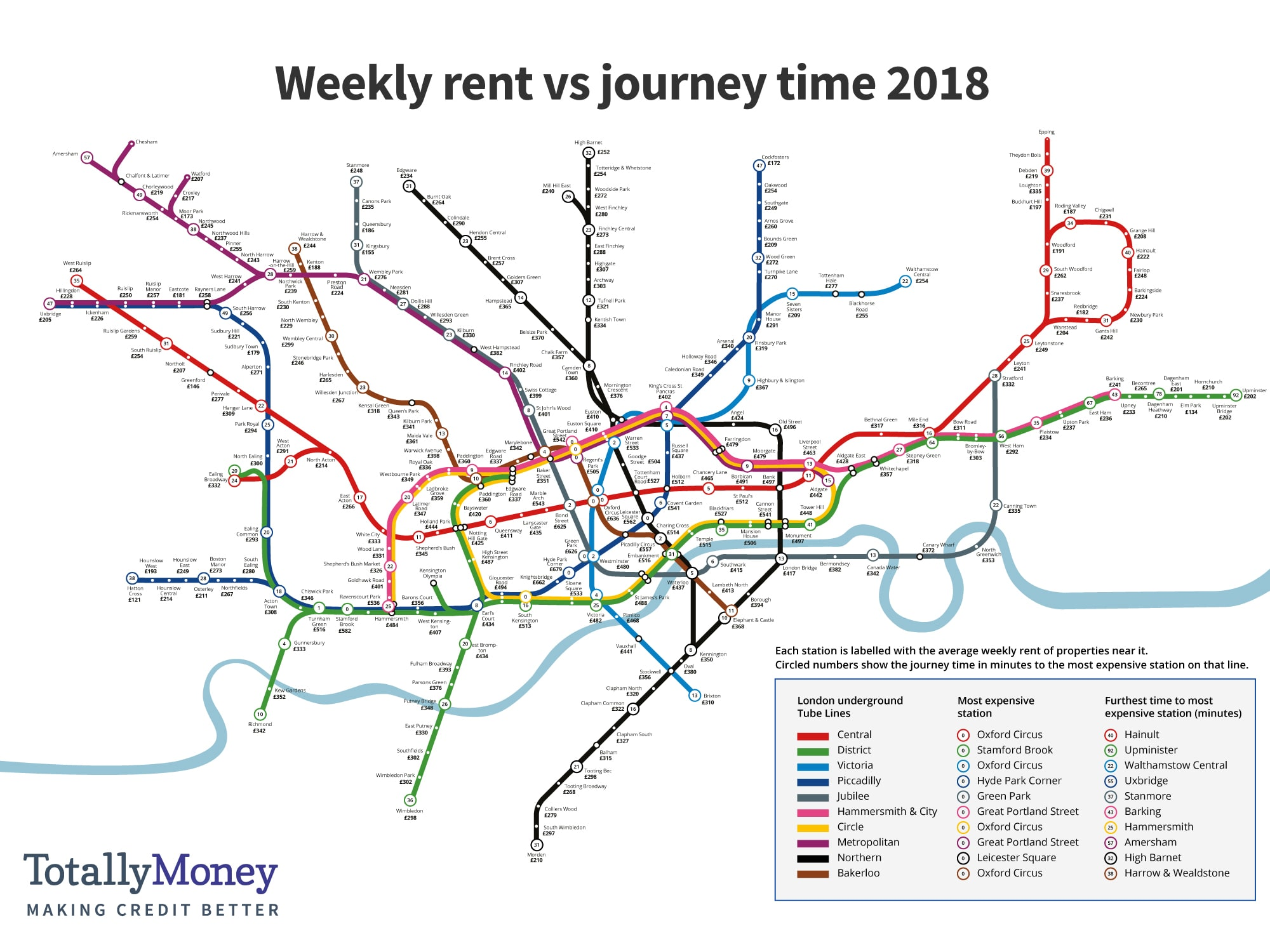 Tube Map Of London.The Effect Of Tube Journey Times On London Weekly Rents